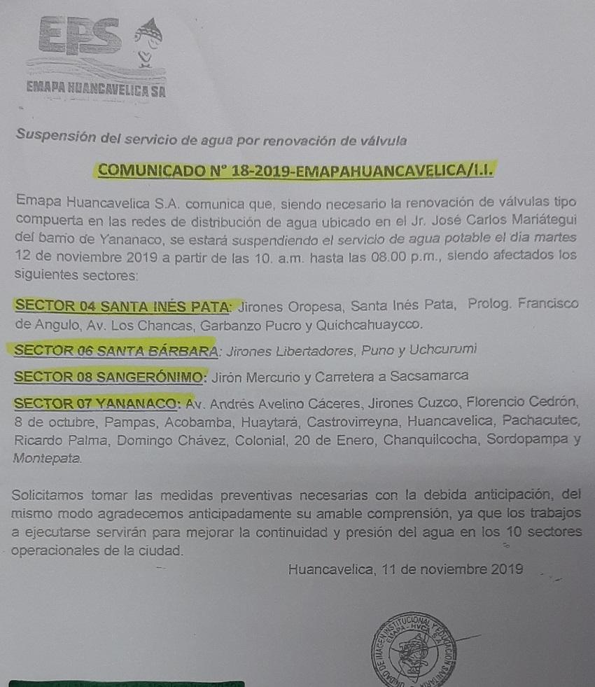 COMUNICADO Nº 18-2019 - EMAPA HUANCAVELICA