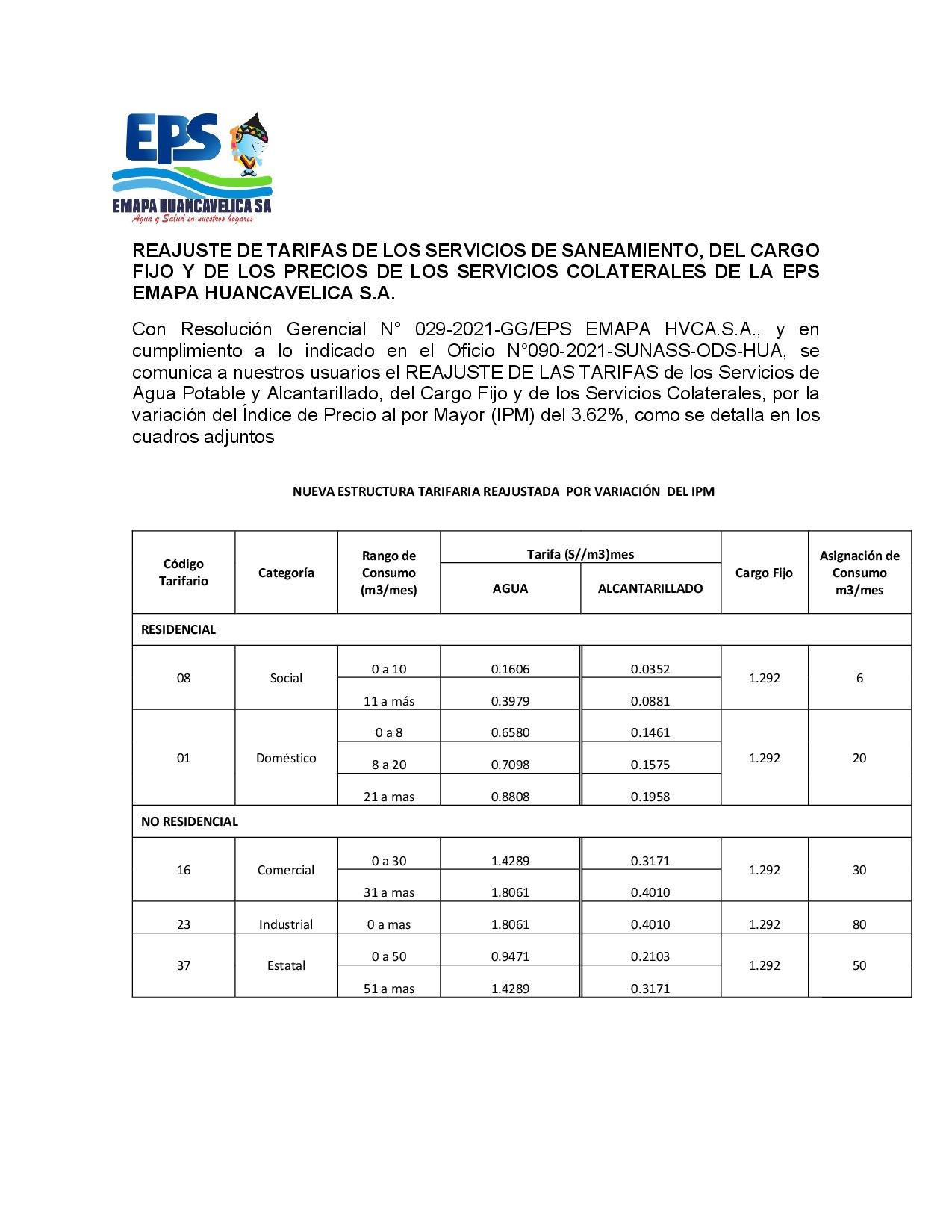 REAJUSTE DE TARIFAS DE LOS SERVICIOS DE SANEAMIENTO